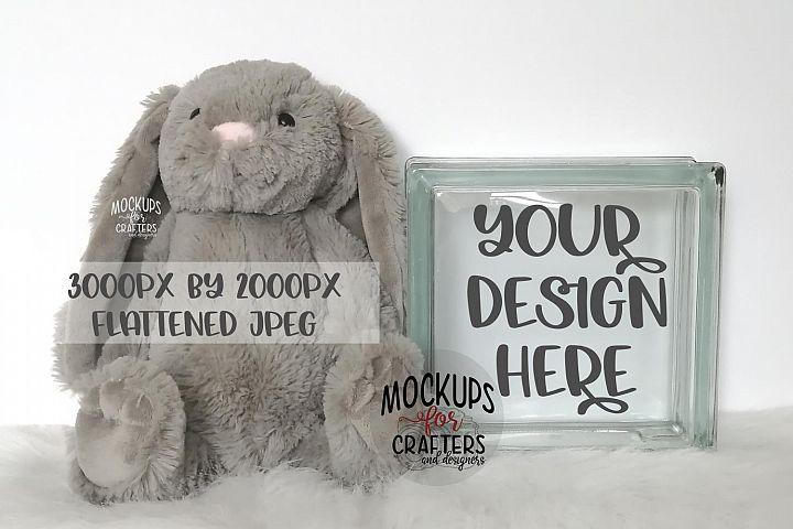 GLASS BLOCK Mock-Up - Bunny, Baby, Nursery, Easter
