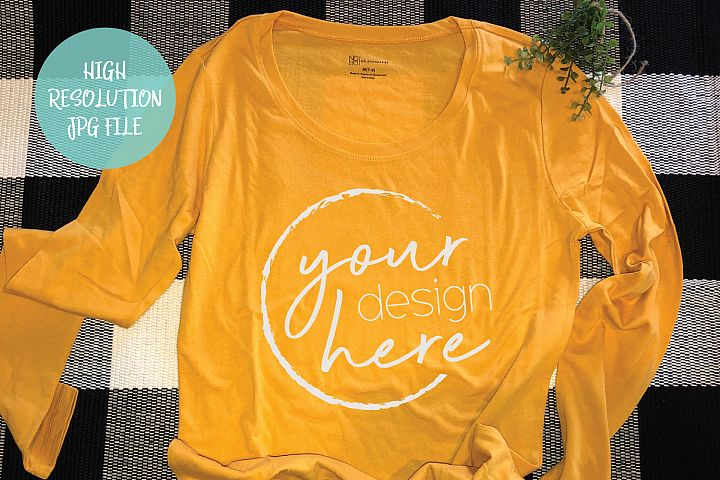 Mustard Long Sleeve Shirt Mockup | Buffalo Plaid
