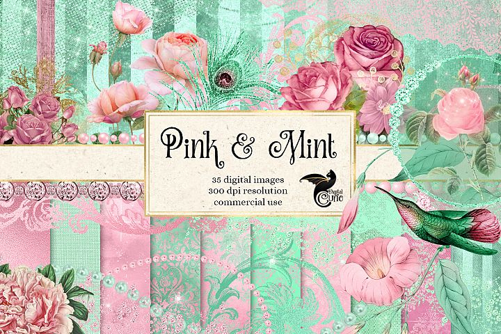 Pink and Mint Digital Scrapbooking Kit