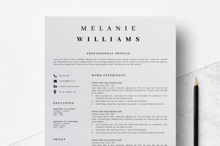 Resume Template Minimalist | CV Template Word - Melanie