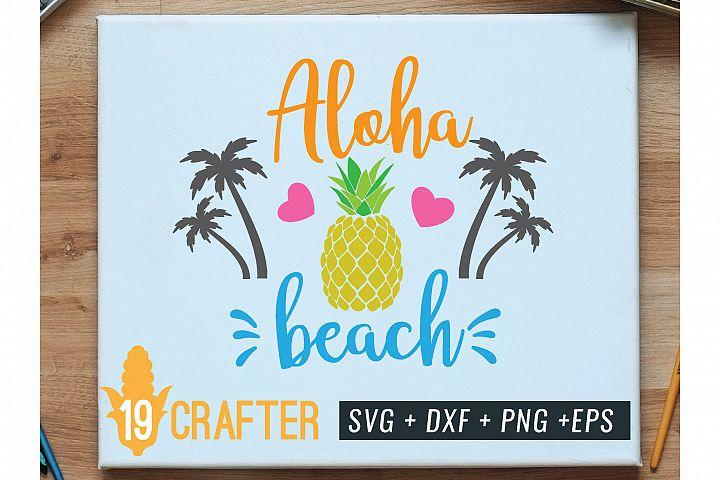 aloha beach with pineapple summer svg file