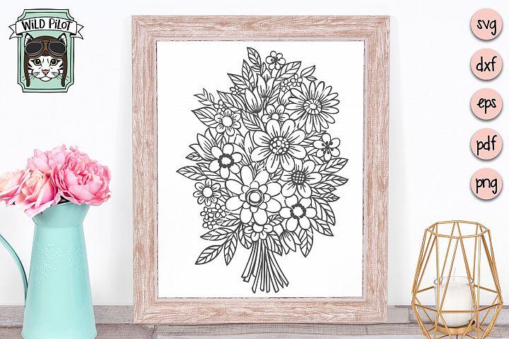 Bouquet SVG, Flowers SVG, Floral cut file, Wedding flowers