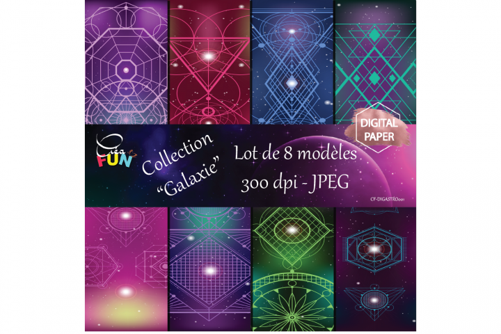 Lot de 8 papiers numériques de la collection Galaxie