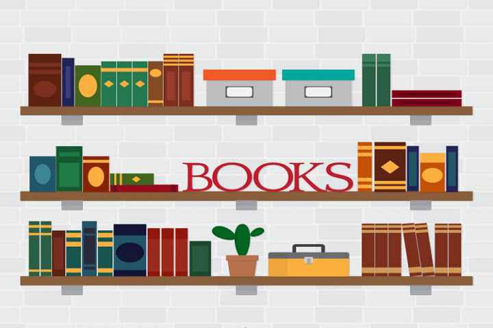 Flat bookshelf vector illustration