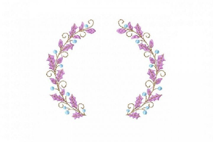 Berry Leaf Floral Wreath monogram font border frame