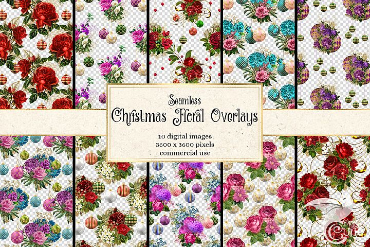 Christmas Floral Pattern Overlays