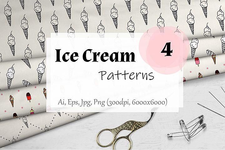 Ice cream seamless vector patterns