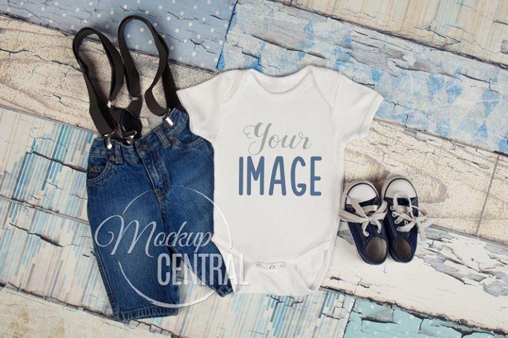 Blank White Baby Onepiece Bodysuit Apparel Mockup, JPG File
