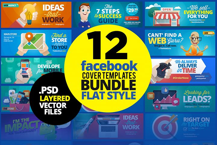 12 Facebook Covers BUNDLE! Flat Style