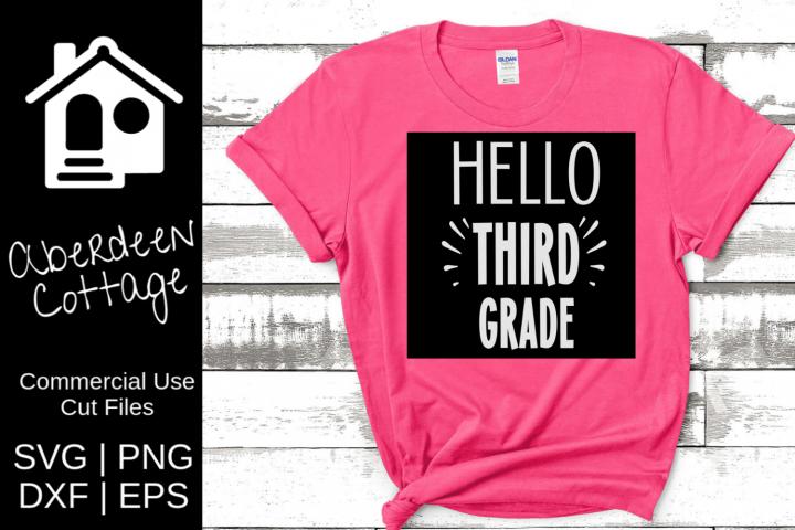Hello Third Grade Cutout SVG