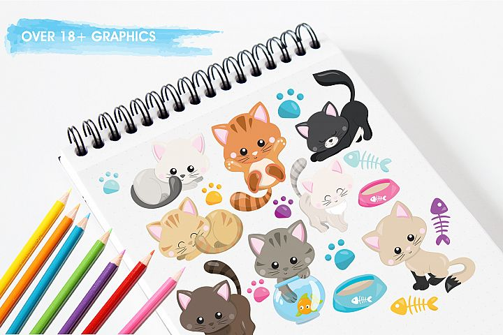 Adorable Kitties graphics and illustrations - Free Design of The Week Design1