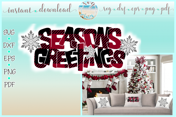 Seasons Greetings Buffalo Plaid Quote Svg Dxf Eps Png PDF
