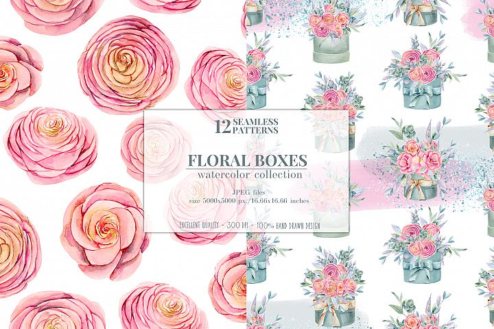 12 seamless patterns, Floral boxes watercolor col. example image 2