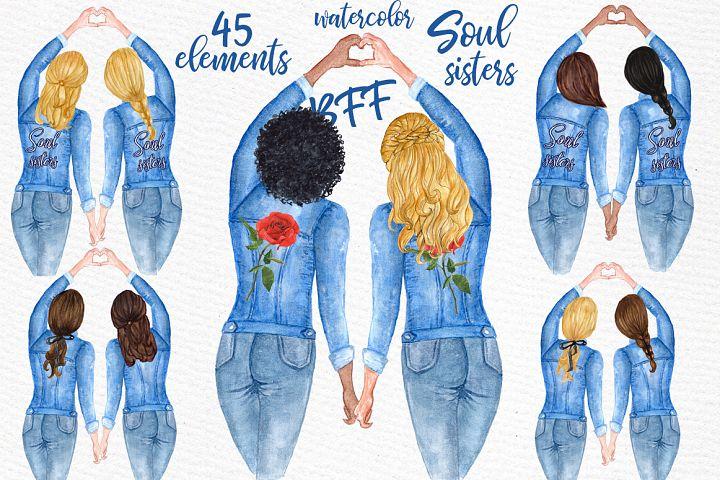 Best Friends Soul Sisters Watercolor Clipart