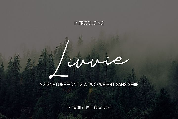 Livvie Signature and Sans Font Duo
