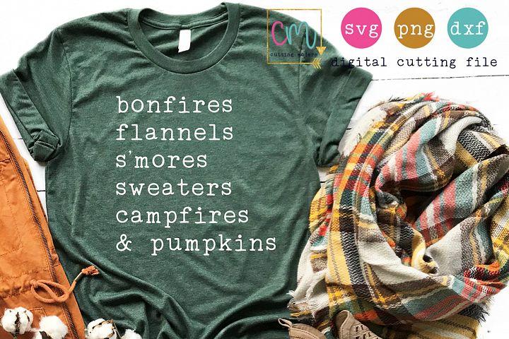 Bonfires Flannels Smores Sweaters Campfires And Pumpkins