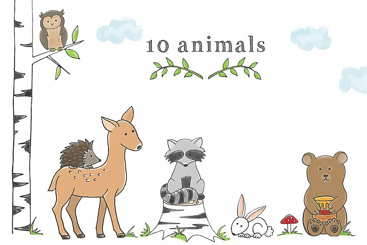 Woodland Animal Clipart Set - Free Design of The Week Design 1