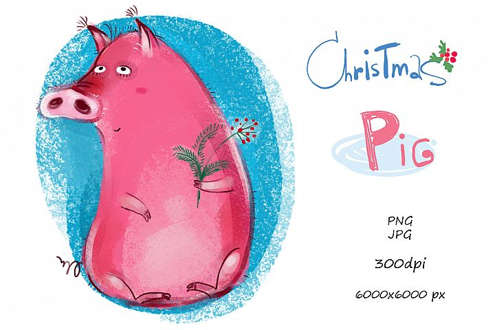Christmas Pig - illustration