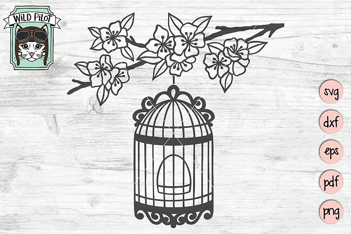 Birdcage SVG file, Cherry Blossom SVG file, Vintage