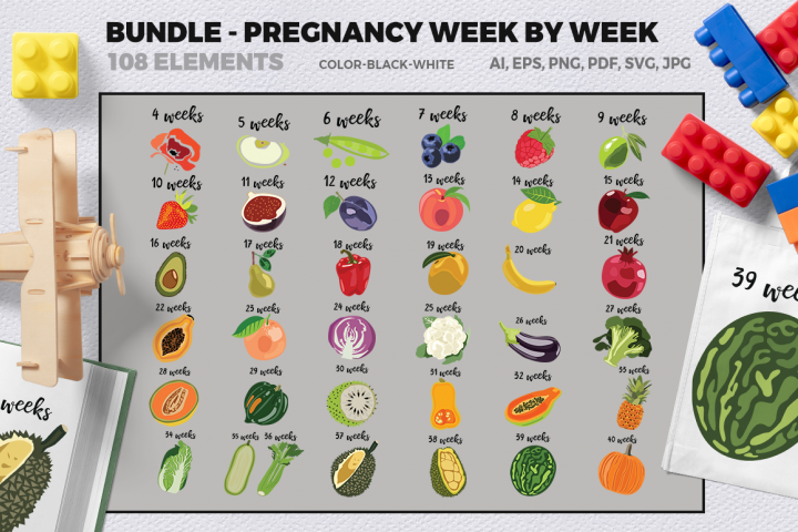 BUNDLE- Pregnancy week by week SVG Cut Files