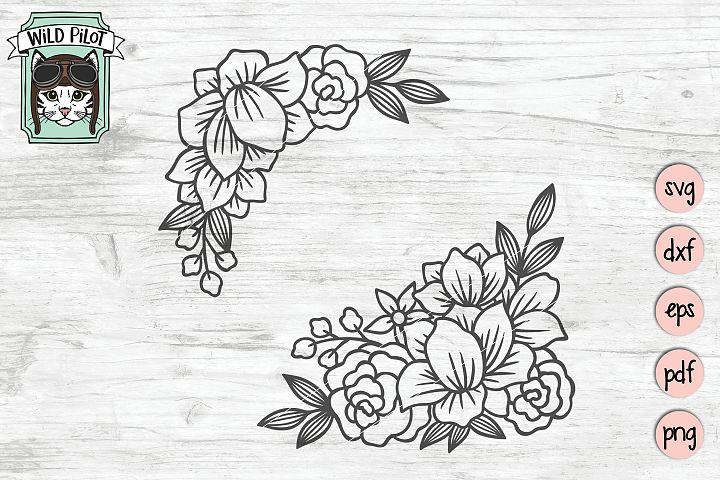 Flowers SVG file, Flower Corner, Floral cut file, Frame
