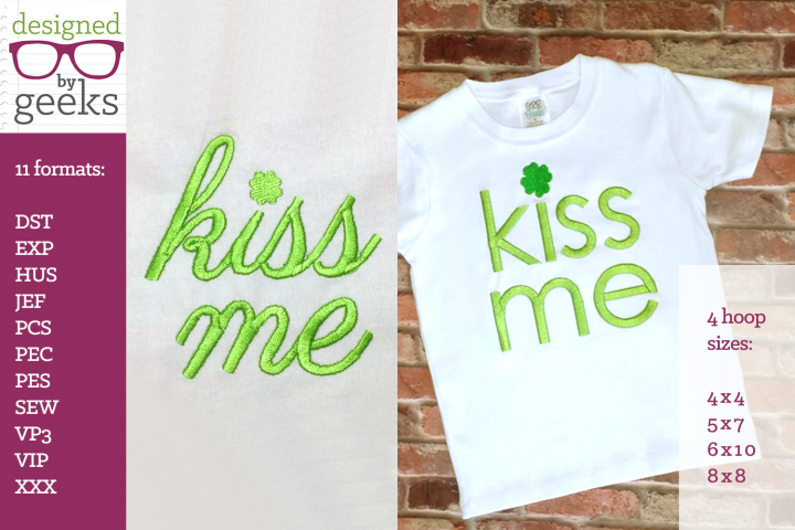 Kiss Me Clover Dot St. Patricks Day Embroidery Duo