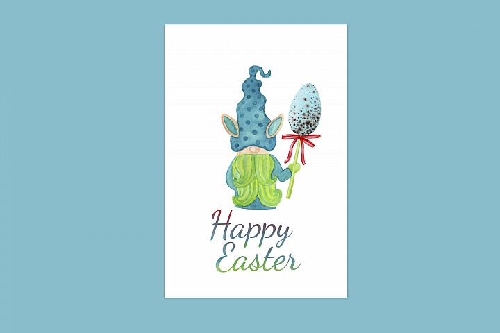 Easter greeting card with easter bunny gnome and easter egg
