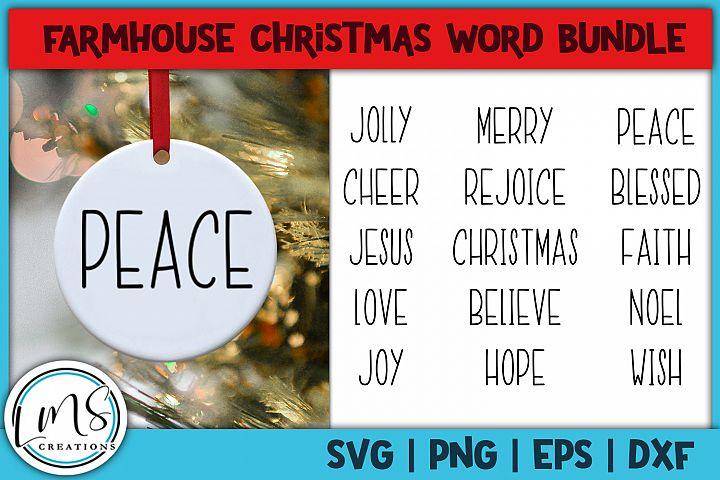 Farmhouse Christmas Word Bundle SVG, PNG, EPS, DXF