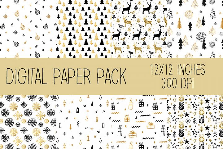 Christmas Digital Paper Pack, Gold, White and Black