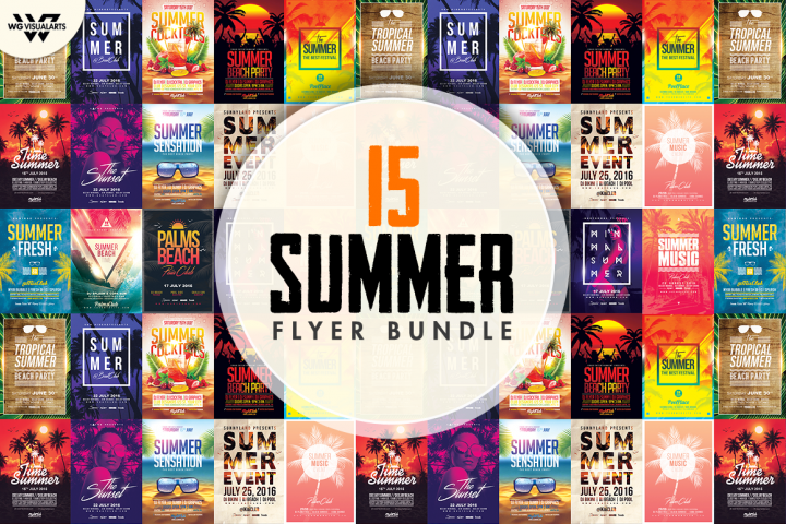 15 SUMMER Flyer Templates Bundle
