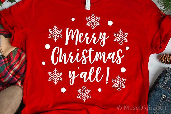 Merry Christmas Yall Svg, Christmas Svg, Snowflake Svg File