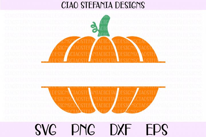 Pumpkin Split Monogram Fall SVG PNG DXF EPS Cut File