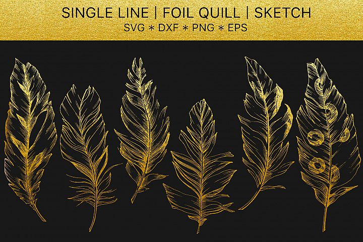 Foil quill svg Feathers golden monogram