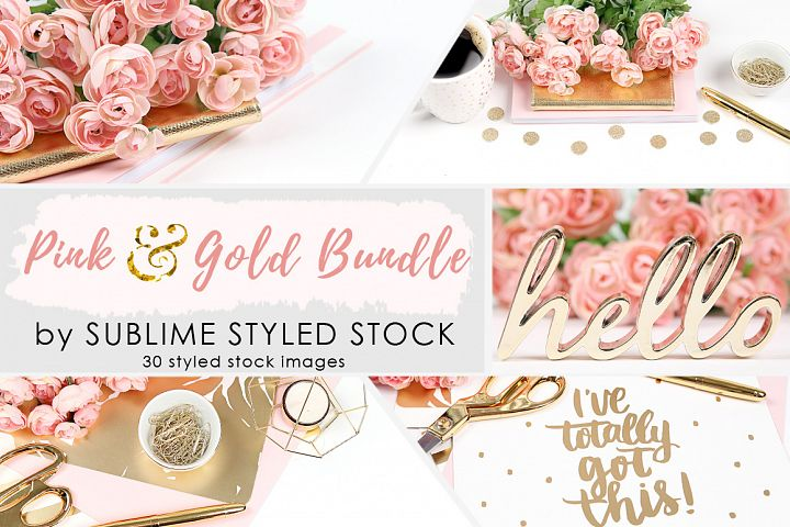 Pink and Gold Styled Stock Photo Bundle - 30 Images