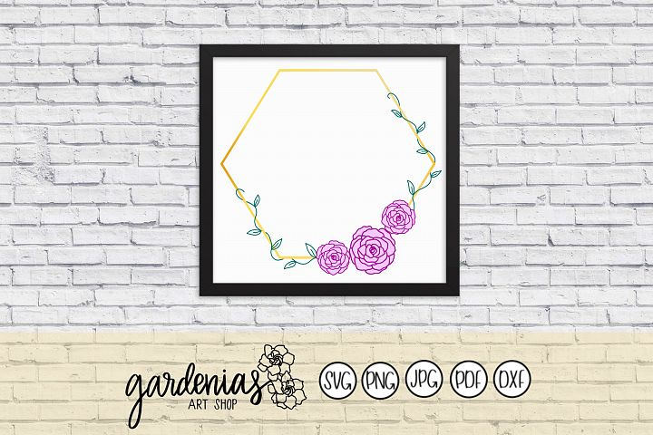 Hexagon Frame with Flowers and Vine