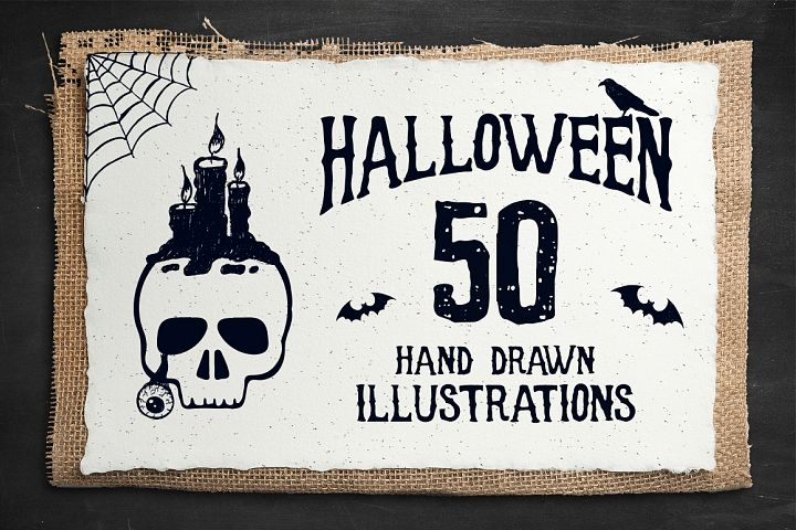Halloween. 50 Hand Drawn Objects - Free Design of The Week Font