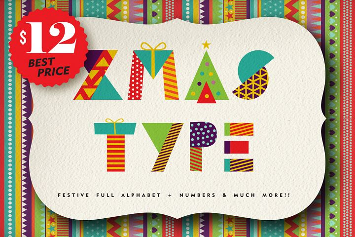 Christmas Geometric typeset + MORE - 90% OFF!