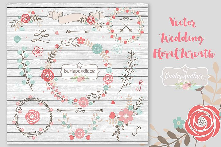 VECTOR Wedding Floral Wreath Clip Art