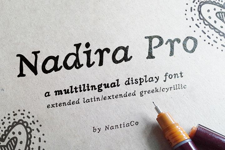 Hand crafted Latin / Greek / Cyrillic Nadira Pro