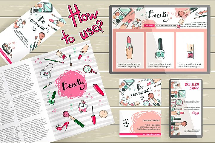 Doodle cosmetics, fashion, spa and beauty. Vector. - Free Design of The Week Design 2