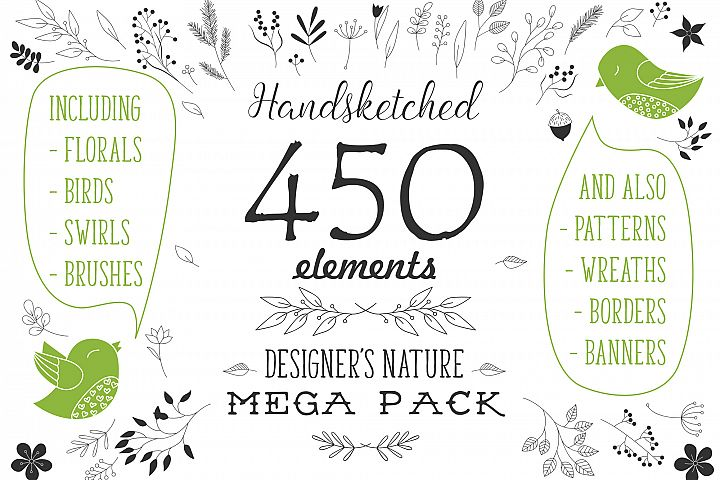 450 handsketched elements. Nature mega pack