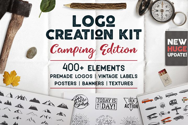 Logo Creation Kit - Camping Bundle Edition. Cricut Files Dxf