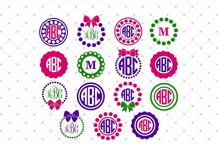 Circle Monogram Frames SVG Cut Files