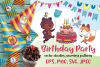 Birthday Party. Woodland animals in doodle style example image 1