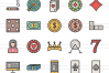 50 Casino Linear Multicolor Icons example image 2