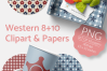Western Clipart & Gingham Scrapbooking Papers PNG files example image 4