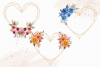Heart Shaped Watercolor Flowers Frames, Geometric Gold Frame example image 6