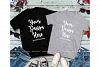 Matching Couples Black Gray T-Shirts Mockup, Shirt Mock Up example image 1