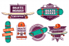 Set of colored skateboard badges example image 2