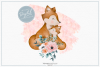 Floral Pink Mummy and Baby Fox - Sublimation PNG Clipart example image 1